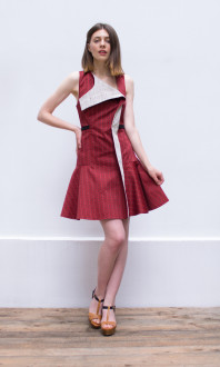 flared red dress_front