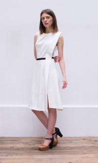 white a line dress_side